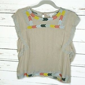 One Direction Arrow Loose Sleeve Cream Top
